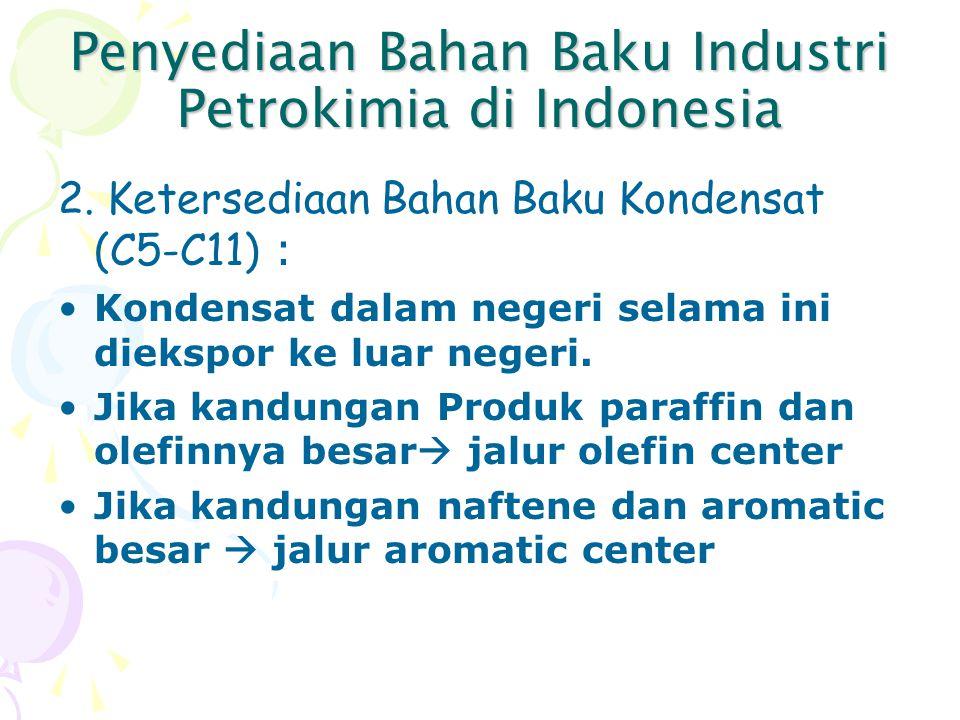 Penyediaan Bahan Baku Industri Petrokimia di Indonesia 2. Ketersediaan Bahan Baku Kondensat (C5-C11) : Kondensat dalam negeri selama ini diekspor ke l