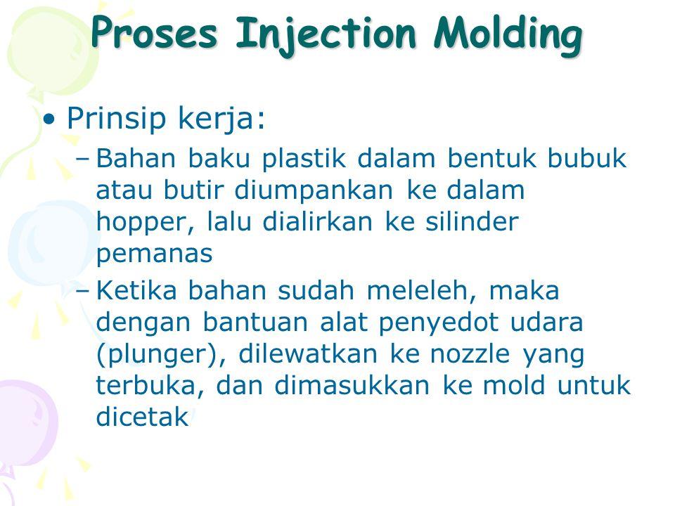 Proses Injection Molding Prinsip kerja: –Bahan baku plastik dalam bentuk bubuk atau butir diumpankan ke dalam hopper, lalu dialirkan ke silinder peman