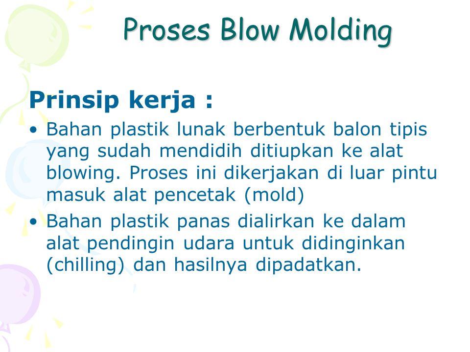 Proses Blow Molding Proses Blow Molding Prinsip kerja : Bahan plastik lunak berbentuk balon tipis yang sudah mendidih ditiupkan ke alat blowing. Prose