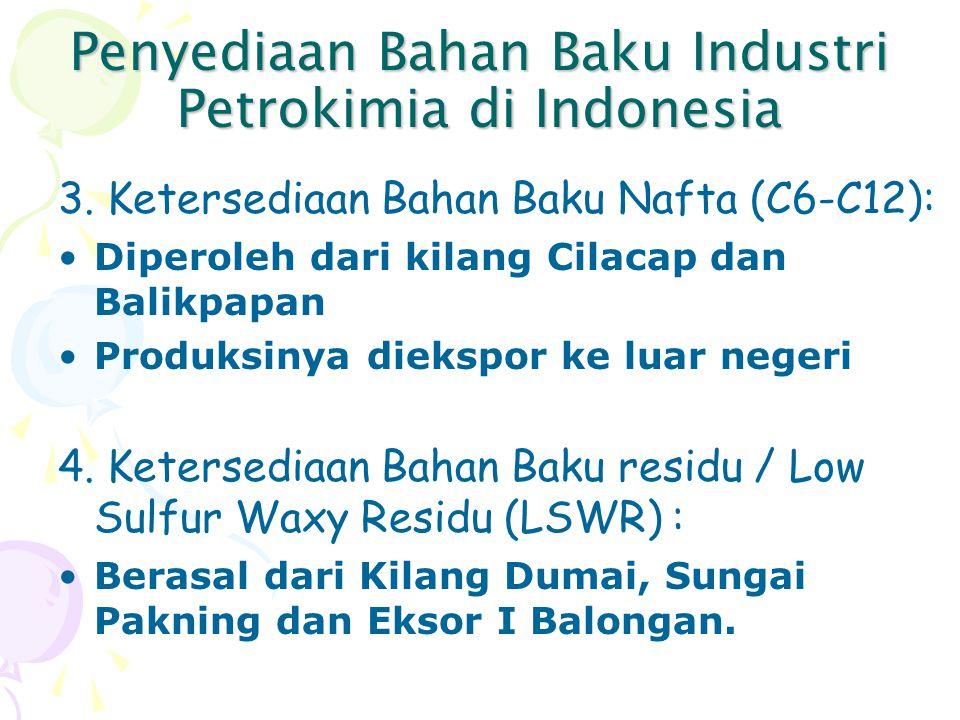 Penyediaan Bahan Baku Industri Petrokimia di Indonesia 3. Ketersediaan Bahan Baku Nafta (C6-C12): Diperoleh dari kilang Cilacap dan Balikpapan Produks
