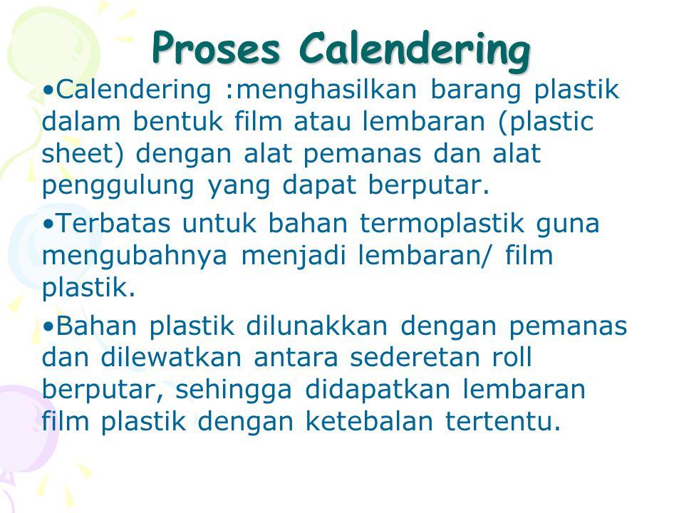 Proses Calendering Calendering :menghasilkan barang plastik dalam bentuk film atau lembaran (plastic sheet) dengan alat pemanas dan alat penggulung ya