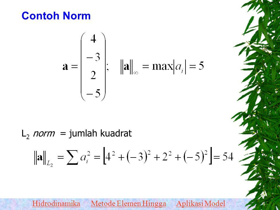 HidrodinamikaMetode Elemen HinggaAplikasi Model Ukuran untuk Kalibrasi Dalam bahasa matematika, jarak dua vektor disebut norm yang simbolnya (misalnya