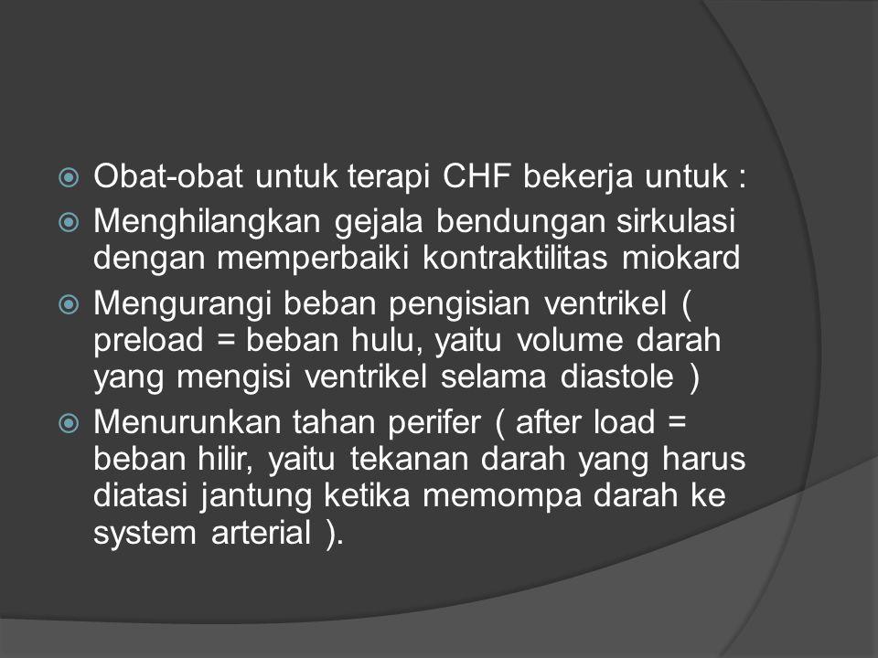  Obat-obat untuk terapi CHF bekerja untuk :  Menghilangkan gejala bendungan sirkulasi dengan memperbaiki kontraktilitas miokard  Mengurangi beban p