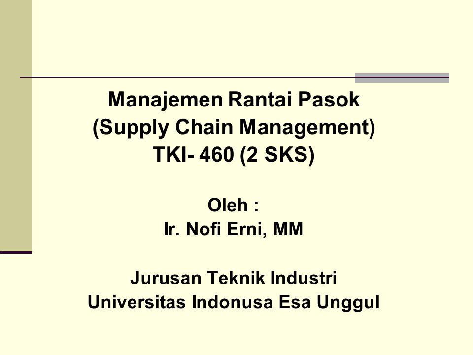 Manajemen Rantai Pasok (Supply Chain Management) TKI- 460 (2 SKS) Oleh : Ir. Nofi Erni, MM Jurusan Teknik Industri Universitas Indonusa Esa Unggul