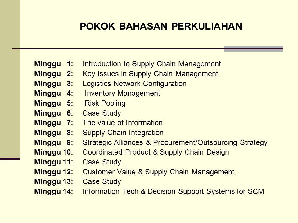 POKOK BAHASAN PERKULIAHAN Minggu 1:Introduction to Supply Chain Management Minggu 2:Key Issues in Supply Chain Management Minggu 3: Logistics Network