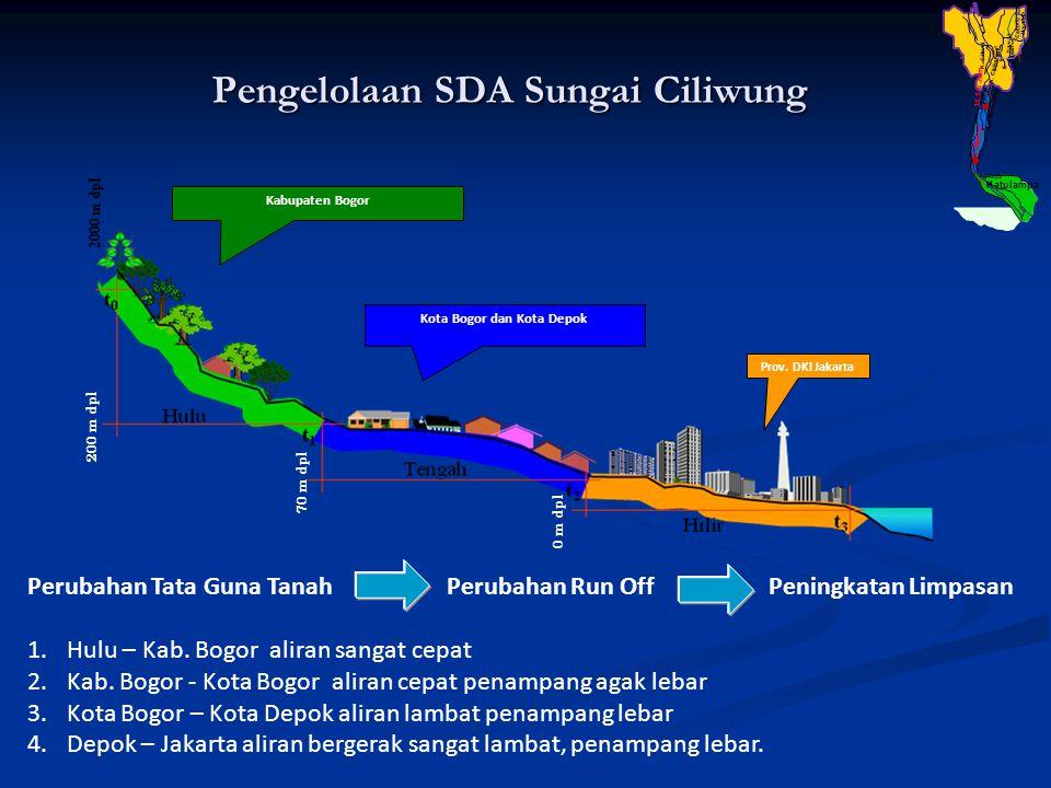 Pengelolaan SDA Sungai Ciliwung Perubahan Tata Guna Tanah Perubahan Run Off Peningkatan Limpasan 1.Hulu – Kab. Bogor aliran sangat cepat 2.Kab. Bogor