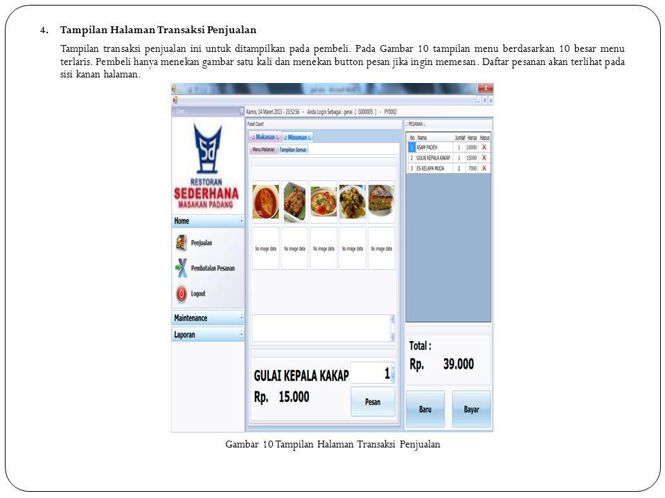 4. Tampilan Halaman Transaksi Penjualan Tampilan transaksi penjualan ini untuk ditampilkan pada pembeli. Pada Gambar 10 tampilan menu berdasarkan 10 b
