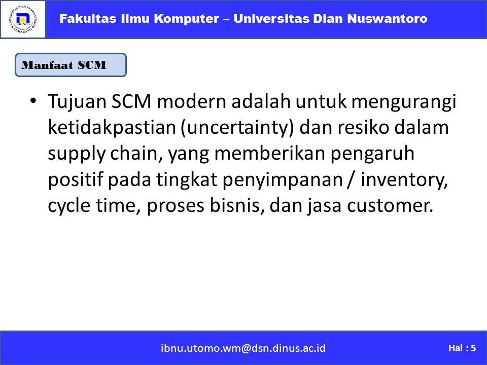 Manfaat SCM ibnu.utomo.wm@dsn.dinus.ac.id Fakultas Ilmu Komputer – Universitas Dian Nuswantoro Hal : 5 Tujuan SCM modern adalah untuk mengurangi ketid