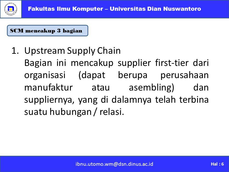 SCM mencakup 3 bagian ibnu.utomo.wm@dsn.dinus.ac.id Fakultas Ilmu Komputer – Universitas Dian Nuswantoro Hal : 6 1.Upstream Supply Chain Bagian ini me