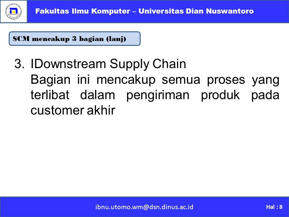 Tantangan SCM ibnu.utomo.wm@dsn.dinus.ac.id Fakultas Ilmu Komputer – Universitas Dian Nuswantoro Hal : 9 Kompleksitas Struktur Supply Chain Melibatkan banyak pihak dengan kepentingan yang berbeda-beda Perbedaan bahasa, zona waktu, dan budaya antar perusahaan