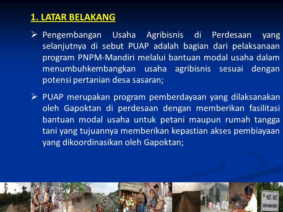 2 1. LATAR BELAKANG  Pengembangan Usaha Agribisnis di Perdesaan yang selanjutnya di sebut PUAP adalah bagian dari pelaksanaan program PNPM-Mandiri me