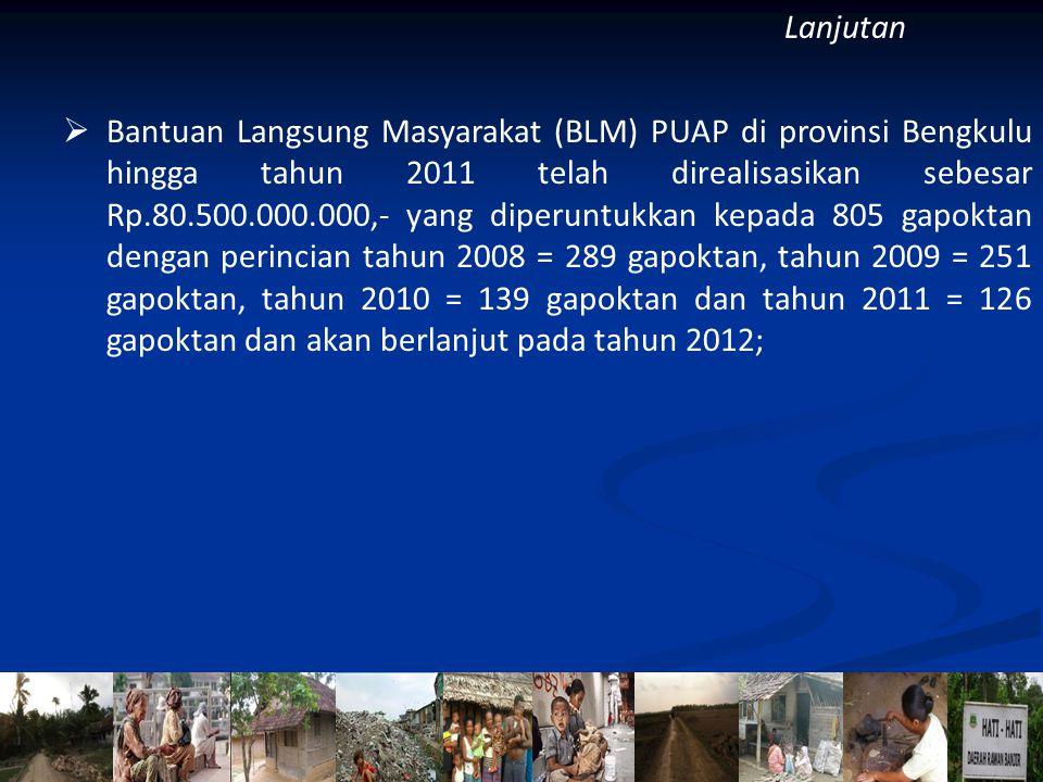  Bantuan Langsung Masyarakat (BLM) PUAP di provinsi Bengkulu hingga tahun 2011 telah direalisasikan sebesar Rp.80.500.000.000,- yang diperuntukkan kepada 805 gapoktan dengan perincian tahun 2008 = 289 gapoktan, tahun 2009 = 251 gapoktan, tahun 2010 = 139 gapoktan dan tahun 2011 = 126 gapoktan dan akan berlanjut pada tahun 2012; Lanjutan