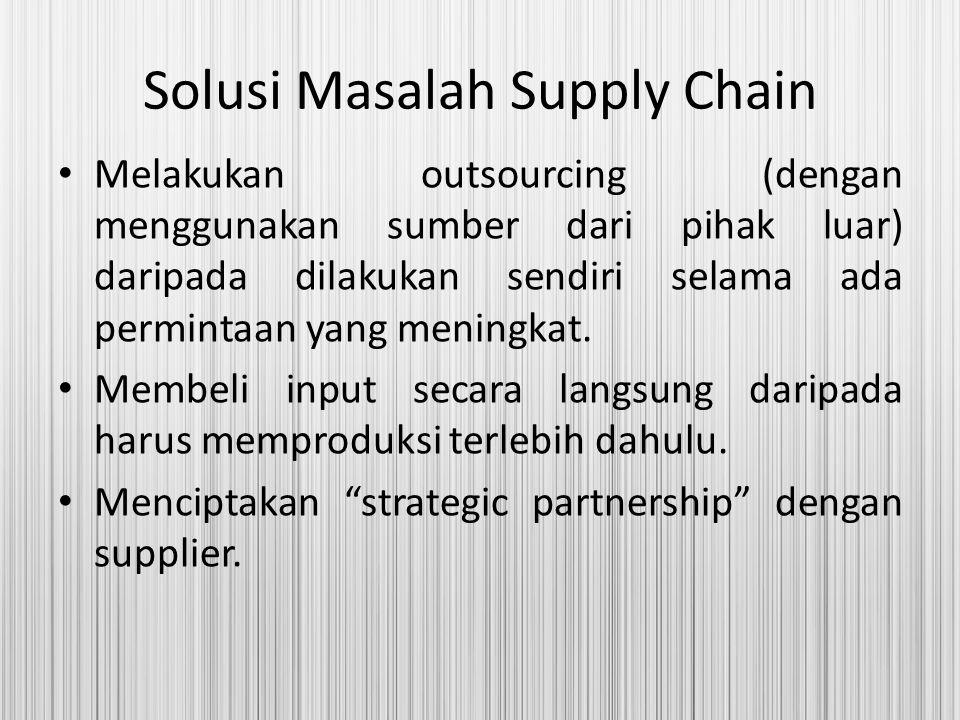 Solusi Masalah Supply Chain Melakukan outsourcing (dengan menggunakan sumber dari pihak luar) daripada dilakukan sendiri selama ada permintaan yang me