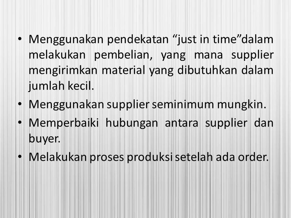 """Menggunakan pendekatan """"just in time""""dalam melakukan pembelian, yang mana supplier mengirimkan material yang dibutuhkan dalam jumlah kecil. Menggunaka"""