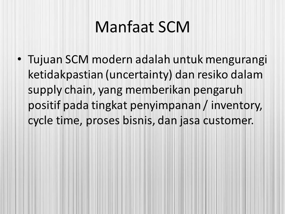 Manfaat SCM Tujuan SCM modern adalah untuk mengurangi ketidakpastian (uncertainty) dan resiko dalam supply chain, yang memberikan pengaruh positif pad