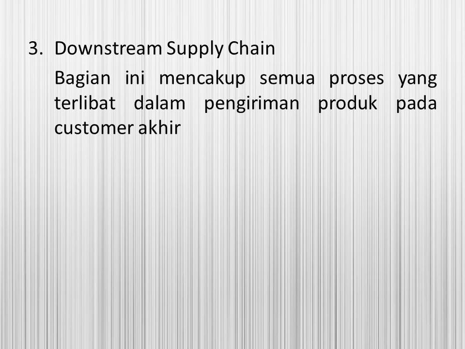 3.Downstream Supply Chain Bagian ini mencakup semua proses yang terlibat dalam pengiriman produk pada customer akhir