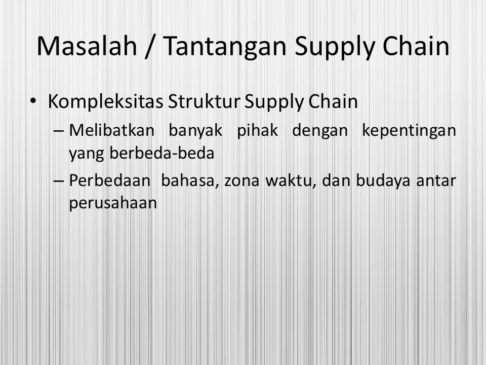 Masalah / Tantangan Supply Chain Kompleksitas Struktur Supply Chain – Melibatkan banyak pihak dengan kepentingan yang berbeda-beda – Perbedaan bahasa,