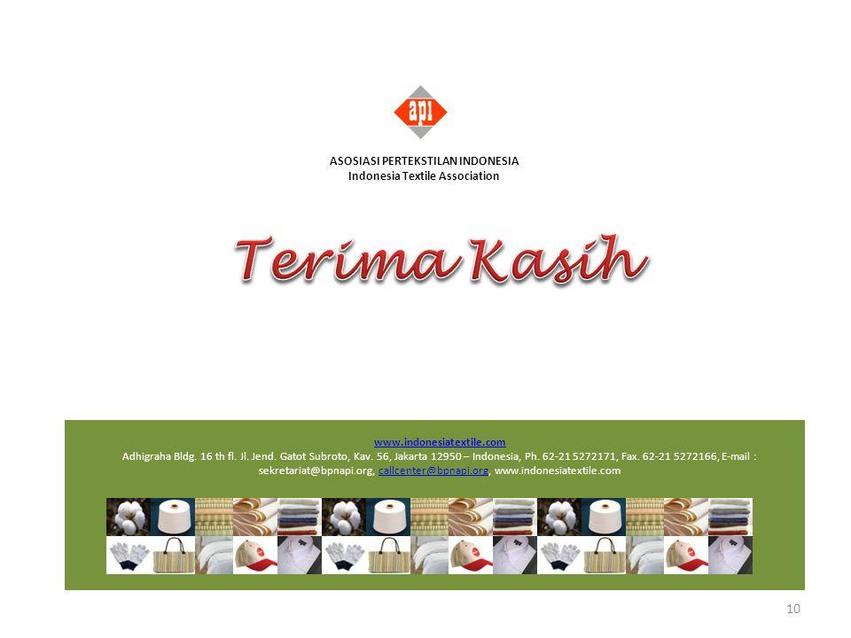 www.indonesiatextile.com Adhigraha Bldg. 16 th fl. Jl. Jend. Gatot Subroto, Kav. 56, Jakarta 12950 – Indonesia, Ph. 62-21 5272171, Fax. 62-21 5272166,
