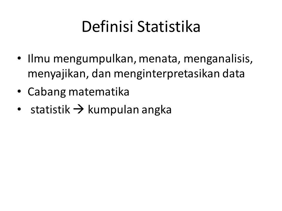 Definisi Statistika Ilmu mengumpulkan, menata, menganalisis, menyajikan, dan menginterpretasikan data Cabang matematika statistik  kumpulan angka