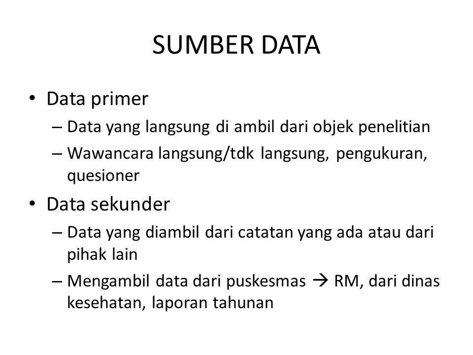 SUMBER DATA Data primer – Data yang langsung di ambil dari objek penelitian – Wawancara langsung/tdk langsung, pengukuran, quesioner Data sekunder – D