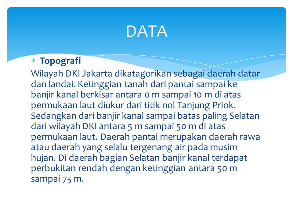  Topografi Wilayah DKI Jakarta dikatagorikan sebagai daerah datar dan landai. Ketinggian tanah dari pantai sampai ke banjir kanal berkisar antara 0 m