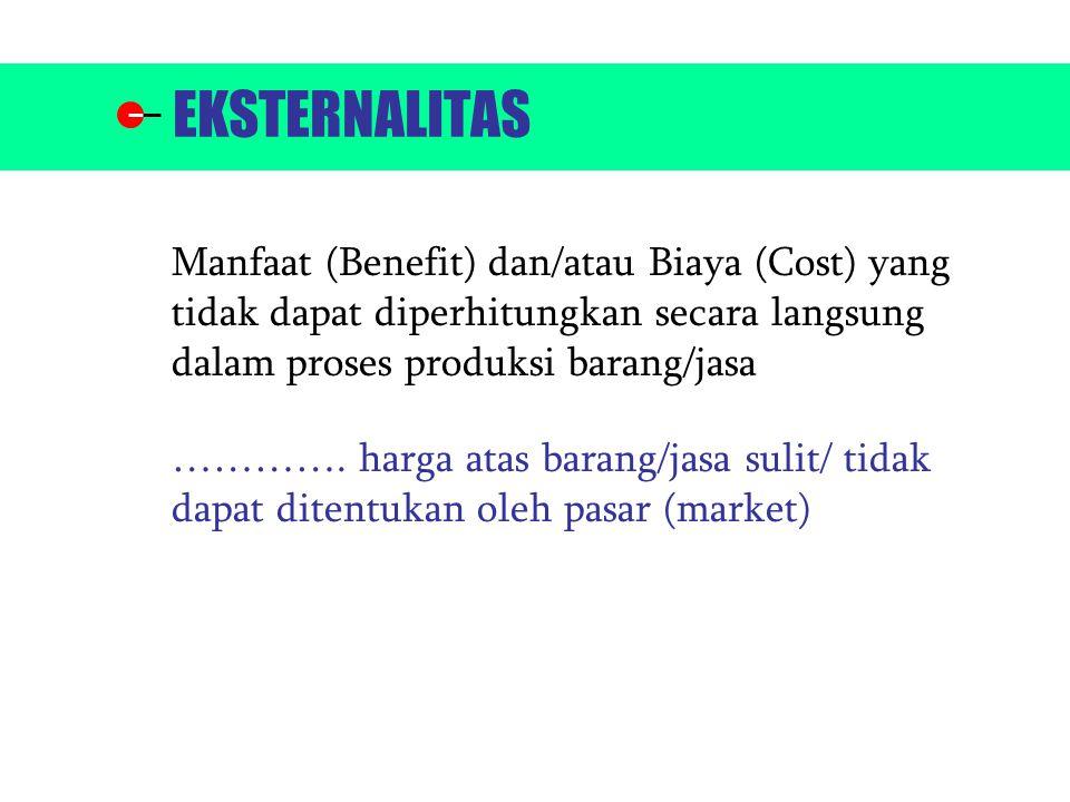Bentuknya (+) atau (-) dan bisa terjadi secara bersamaan (simultan) KONSEKUENSI ADANYA EKSTERNALITAS : 1.