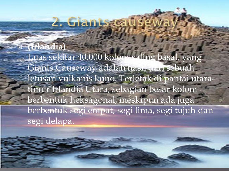 ((Irlandia) Luas sekitar 40.000 kolom saling basal, yang Giants Causeway adalah hasil dari sebuah letusan vulkanis kuno.