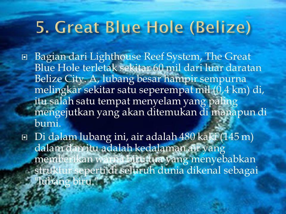  Bagian dari Lighthouse Reef System, The Great Blue Hole terletak sekitar 60 mil dari luar daratan Belize City.