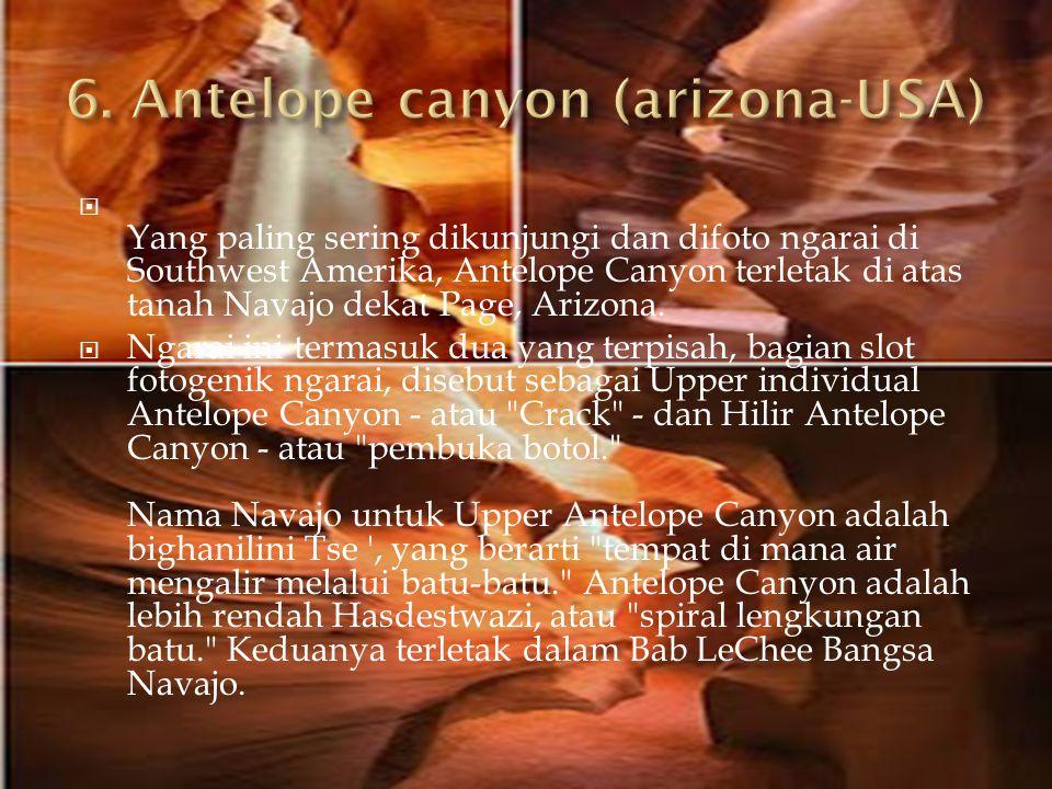  Yang paling sering dikunjungi dan difoto ngarai di Southwest Amerika, Antelope Canyon terletak di atas tanah Navajo dekat Page, Arizona.