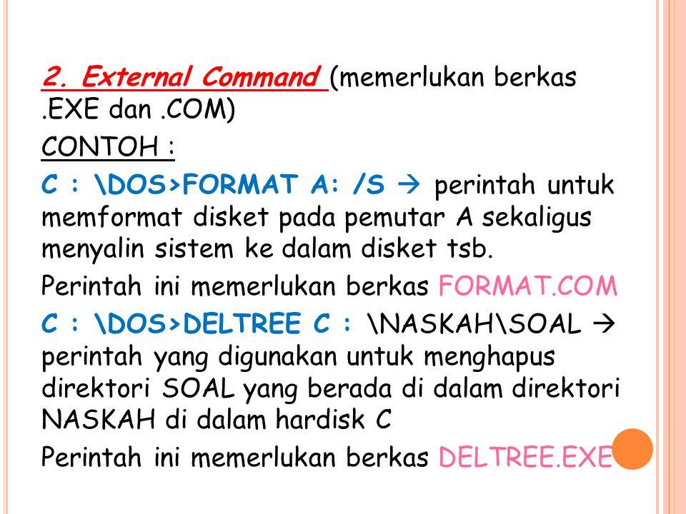 2. External Command (memerlukan berkas.EXE dan.COM) CONTOH : C : \DOS>FORMAT A: /S  perintah untuk memformat disket pada pemutar A sekaligus menyalin