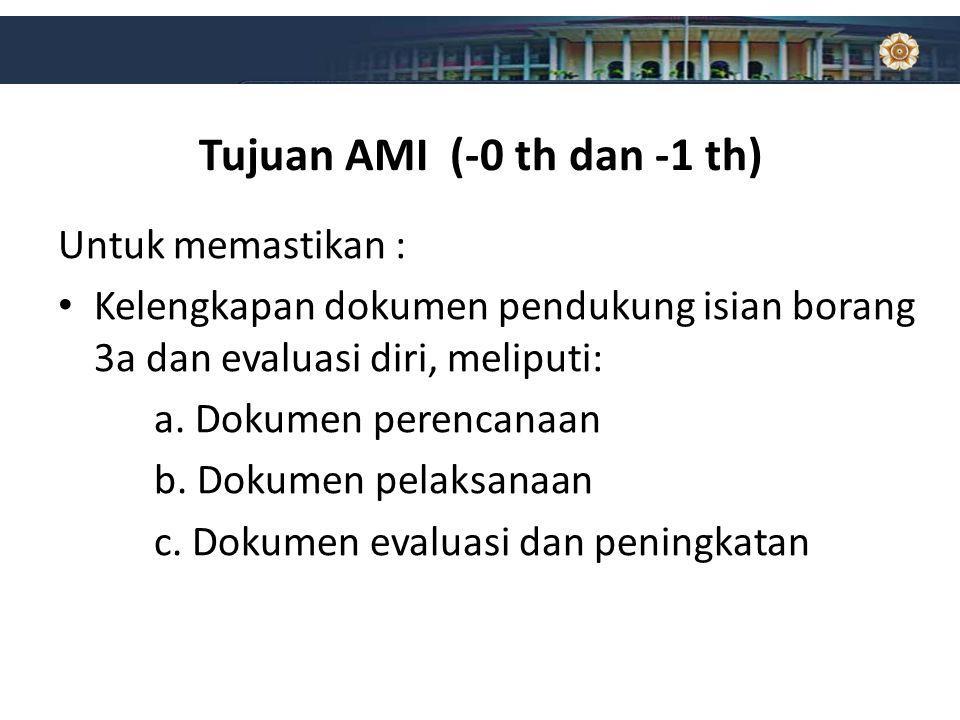 Tujuan AMI (-0 th dan -1 th) Untuk memastikan : Kelengkapan dokumen pendukung isian borang 3a dan evaluasi diri, meliputi: a. Dokumen perencanaan b. D