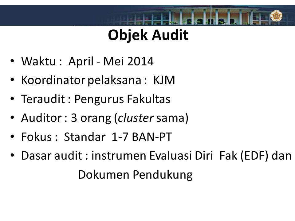 Objek Audit Waktu : April - Mei 2014 Koordinator pelaksana : KJM Teraudit : Pengurus Fakultas Auditor : 3 orang (cluster sama) Fokus : Standar 1-7 BAN