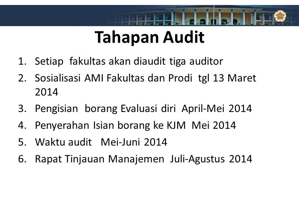 Tahapan Audit 1.Setiap fakultas akan diaudit tiga auditor 2.Sosialisasi AMI Fakultas dan Prodi tgl 13 Maret 2014 3.Pengisian borang Evaluasi diri Apri