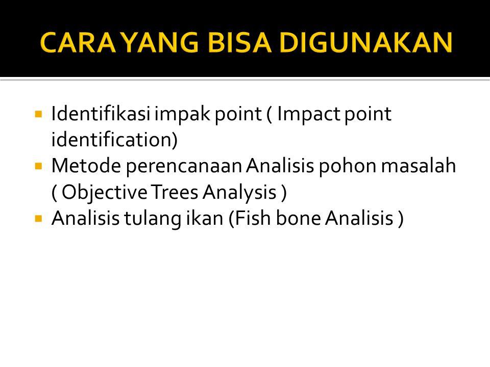 Identifikasi impak point ( Impact point identification)  Metode perencanaan Analisis pohon masalah ( Objective Trees Analysis )  Analisis tulang ikan (Fish bone Analisis )