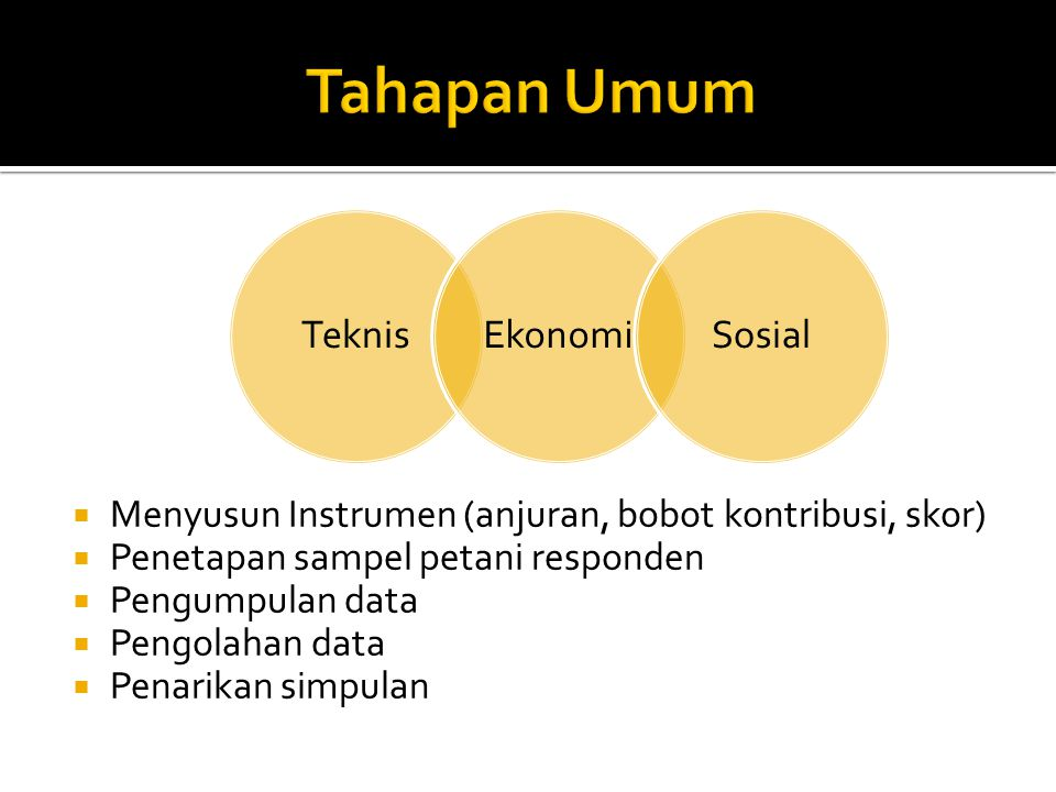  Menyusun Instrumen (anjuran, bobot kontribusi, skor)  Penetapan sampel petani responden  Pengumpulan data  Pengolahan data  Penarikan simpulan TeknisEkonomiSosial
