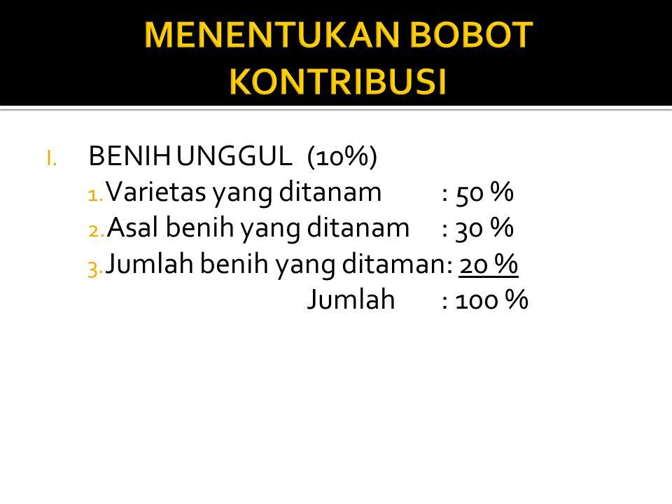 I.BENIH UNGGUL(10%) 1. Varietas yang ditanam: 50 % 2.
