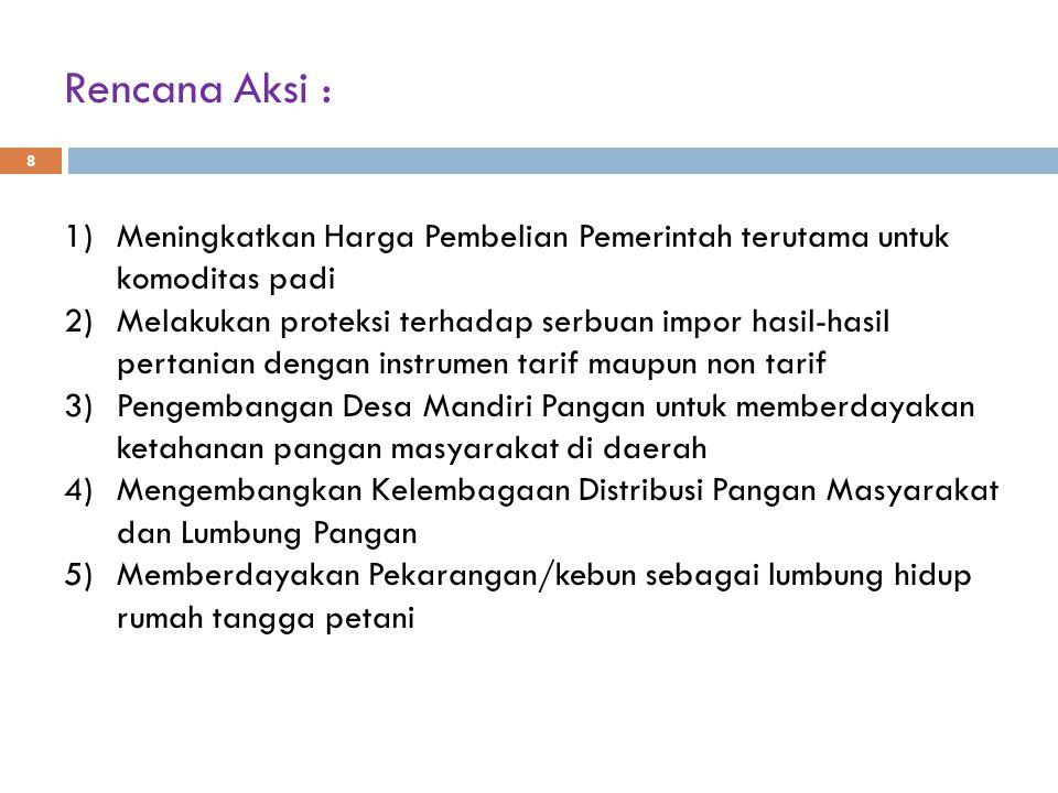 6).Pemberian subsidi input (pupuk dan benih) 7).