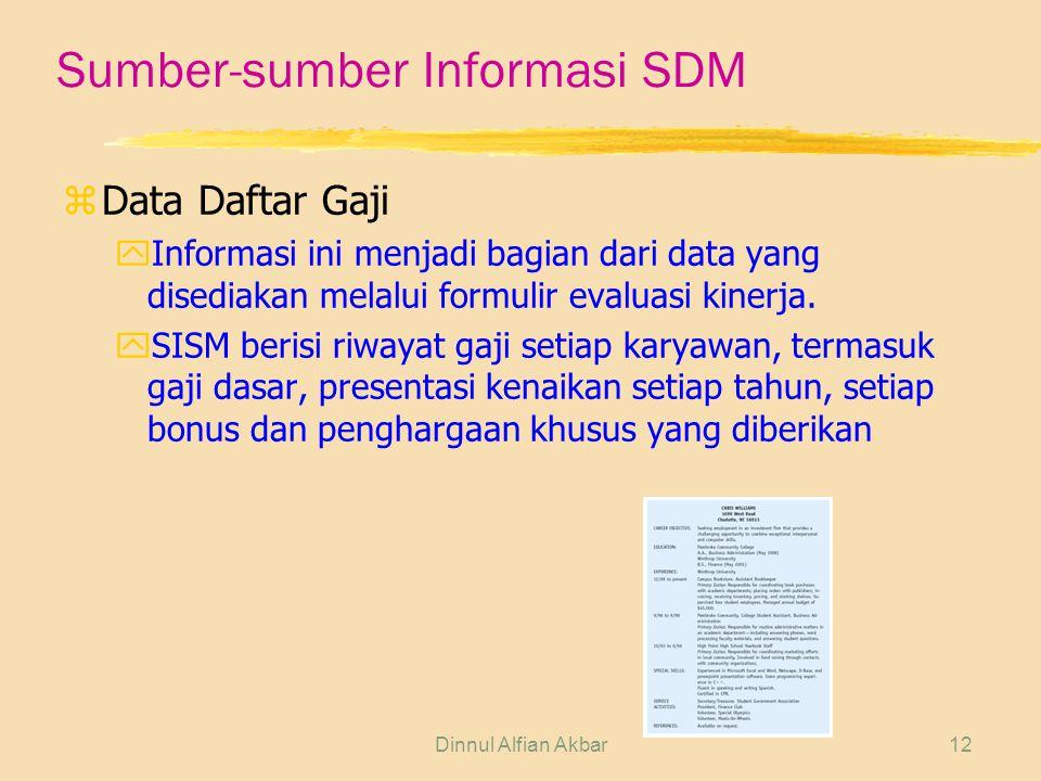 Dinnul Alfian Akbar12 Sumber-sumber Informasi SDM zData Daftar Gaji yInformasi ini menjadi bagian dari data yang disediakan melalui formulir evaluasi kinerja.
