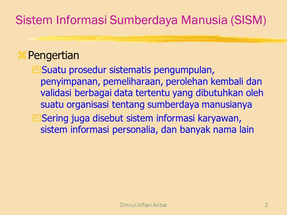 2 Sistem Informasi Sumberdaya Manusia (SISM) zPengertian ySuatu prosedur sistematis pengumpulan, penyimpanan, pemeliharaan, perolehan kembali dan validasi berbagai data tertentu yang dibutuhkan oleh suatu organisasi tentang sumberdaya manusianya ySering juga disebut sistem informasi karyawan, sistem informasi personalia, dan banyak nama lain
