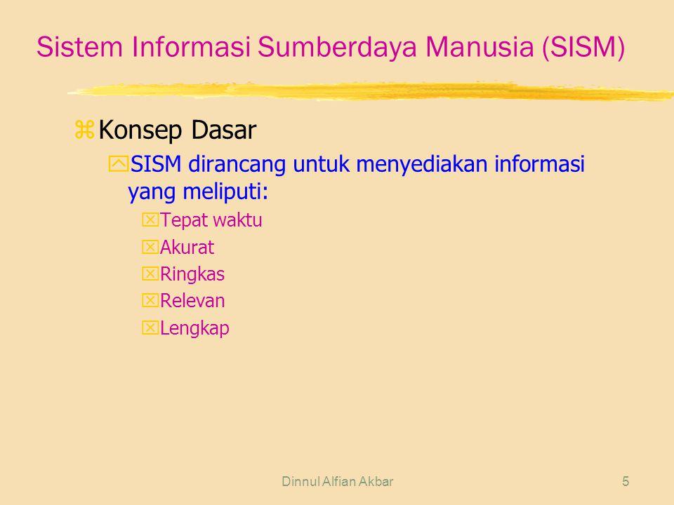 Dinnul Alfian Akbar5 Sistem Informasi Sumberdaya Manusia (SISM) zKonsep Dasar ySISM dirancang untuk menyediakan informasi yang meliputi: xTepat waktu xAkurat xRingkas xRelevan xLengkap