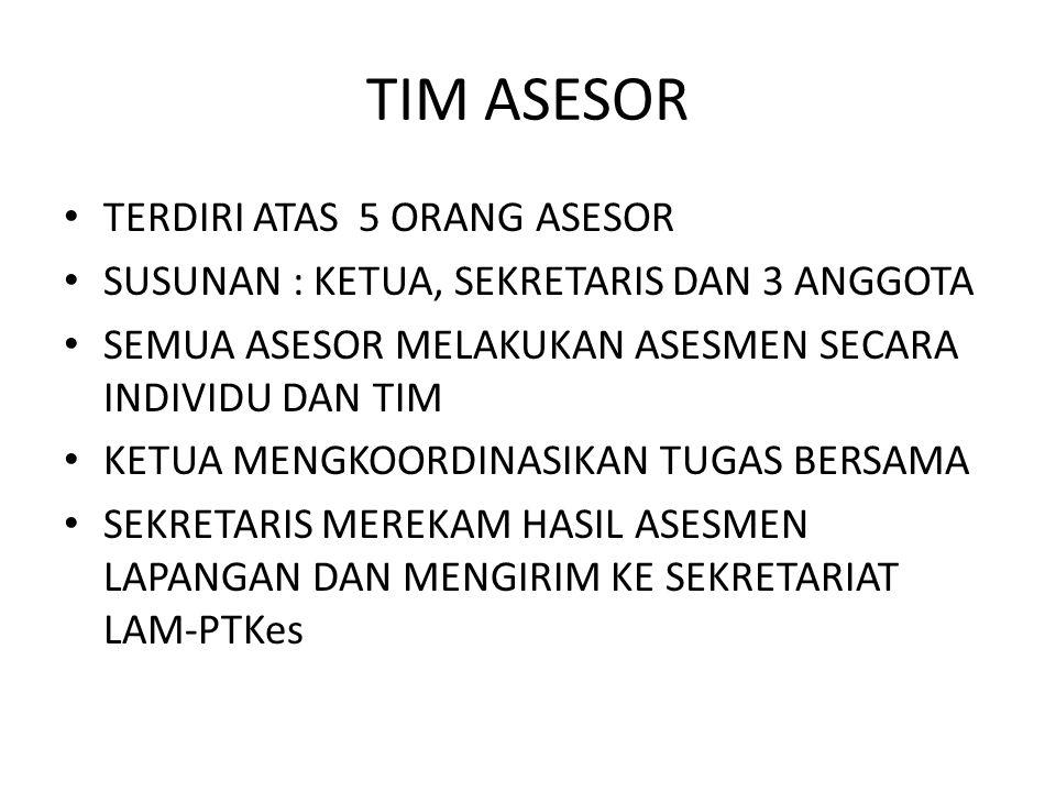 TIM ASESOR TERDIRI ATAS 5 ORANG ASESOR SUSUNAN : KETUA, SEKRETARIS DAN 3 ANGGOTA SEMUA ASESOR MELAKUKAN ASESMEN SECARA INDIVIDU DAN TIM KETUA MENGKOOR