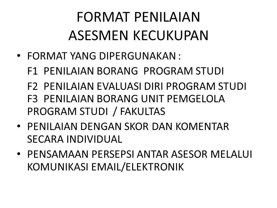 FORMAT PENILAIAN ASESMEN KECUKUPAN FORMAT YANG DIPERGUNAKAN : F1 PENILAIAN BORANG PROGRAM STUDI F2 PENILAIAN EVALUASI DIRI PROGRAM STUDI F3 PENILAIAN BORANG UNIT PEMGELOLA PROGRAM STUDI / FAKULTAS PENILAIAN DENGAN SKOR DAN KOMENTAR SECARA INDIVIDUAL PENSAMAAN PERSEPSI ANTAR ASESOR MELALUI KOMUNIKASI EMAIL/ELEKTRONIK