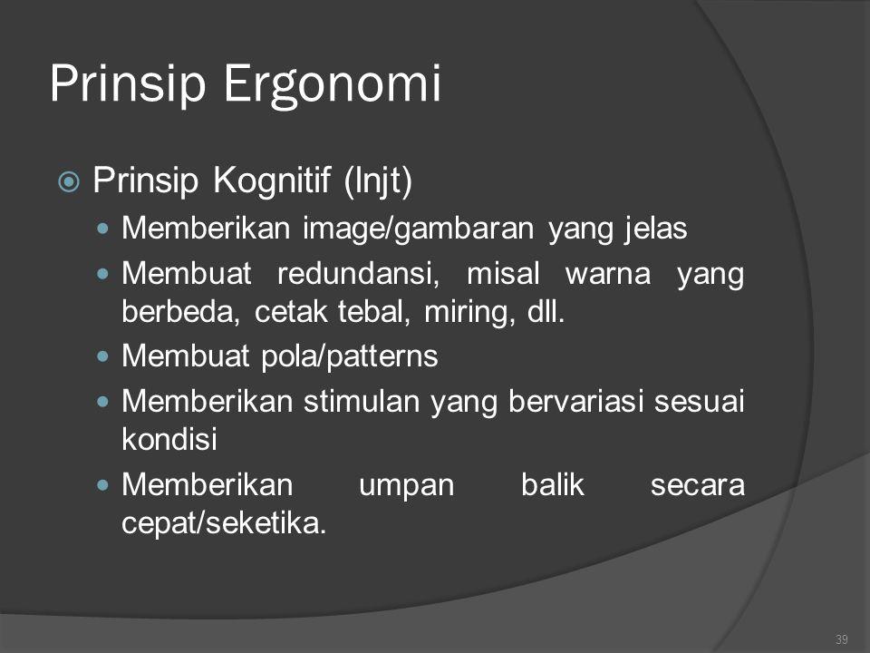 Prinsip Ergonomi  Prinsip Kognitif Adanya standarisasi Membuat stereotipe Menghubungkan aksi dengan persepsi Mempermudah pemaparan suatu informasi Me