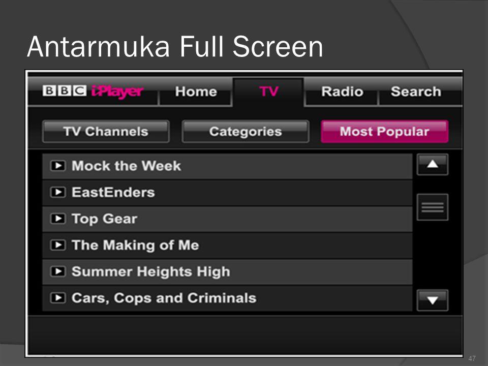 3. Antarmuka full screen : Berbentuk pengisian borang Membolehkan beberapa data dimasukkan Sistem menu berbentuk user interface full screen Lima Gener