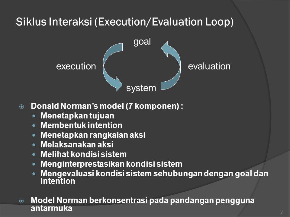 Terminologi Interaksi (Lnjt)  Task analysis : Identifikasi ruang masalah yang berkaitan dengan domain, tujuan, tugas, dan maksud  System : aplikasi