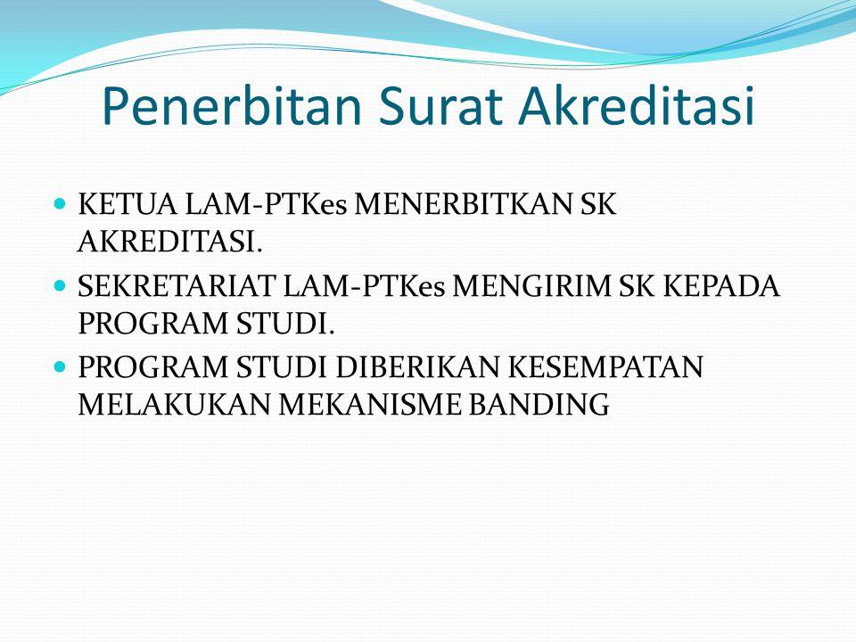 Penerbitan Surat Akreditasi KETUA LAM-PTKes MENERBITKAN SK AKREDITASI.