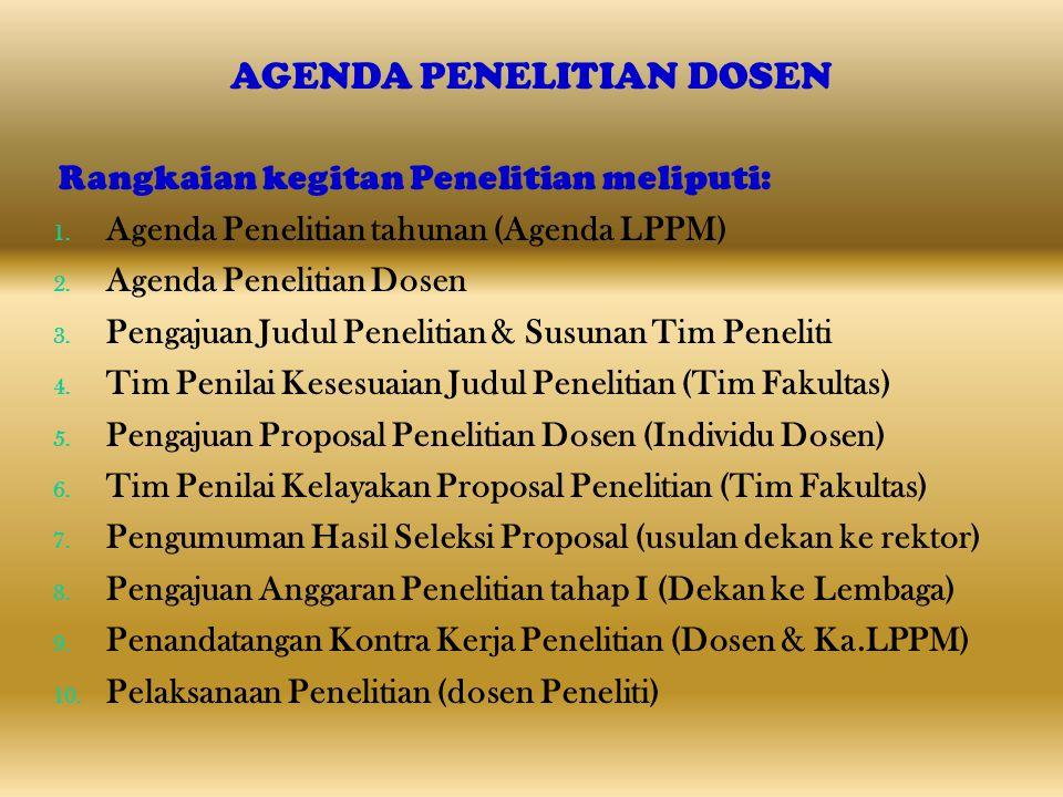 AGENDA PENELITIAN DOSEN Rangkaian kegitan Penelitian meliputi: 1. Agenda Penelitian tahunan (Agenda LPPM) 2. Agenda Penelitian Dosen 3. Pengajuan Judu