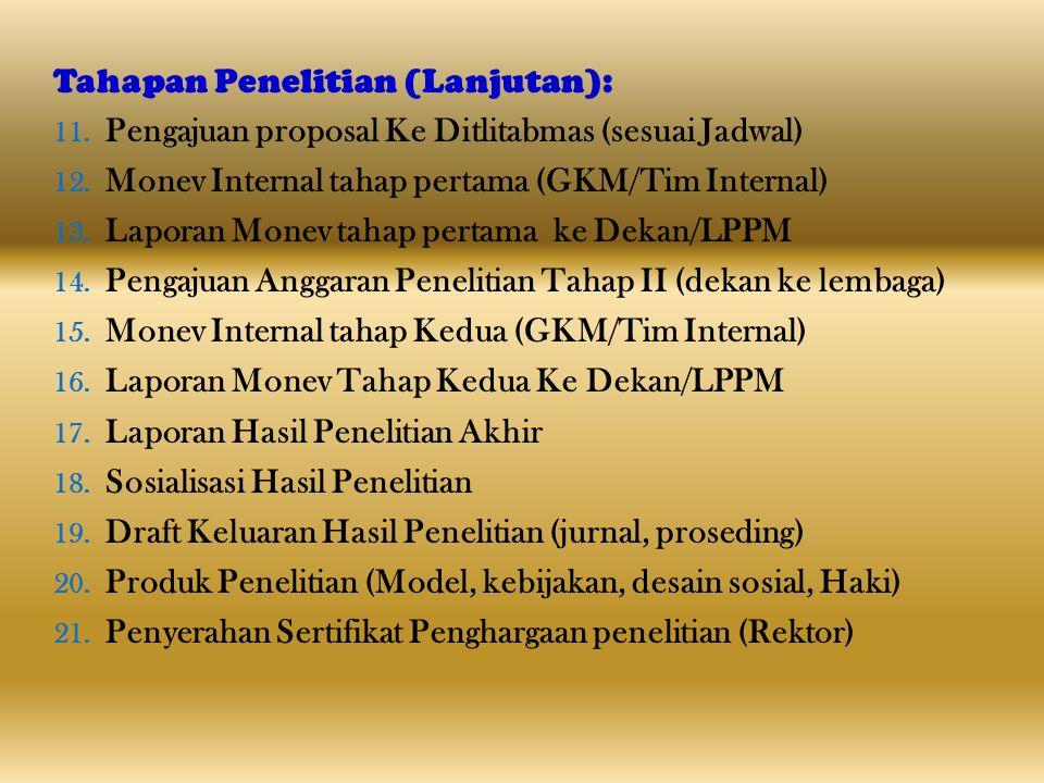 Tahapan Penelitian (Lanjutan): 11. Pengajuan proposal Ke Ditlitabmas (sesuai Jadwal) 12. Monev Internal tahap pertama (GKM/Tim Internal) 13. Laporan M