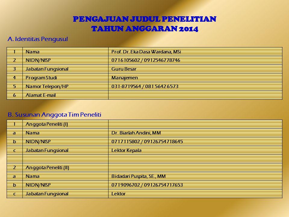 PENGAJUAN JUDUL PENELITIAN TAHUN ANGGARAN 2014 A. Identitas Pengusul B. Susunan Anggota Tim Peneliti 1NamaProf. Dr. Eka Dasa Wardana, MSi 2NIDN/NISP07