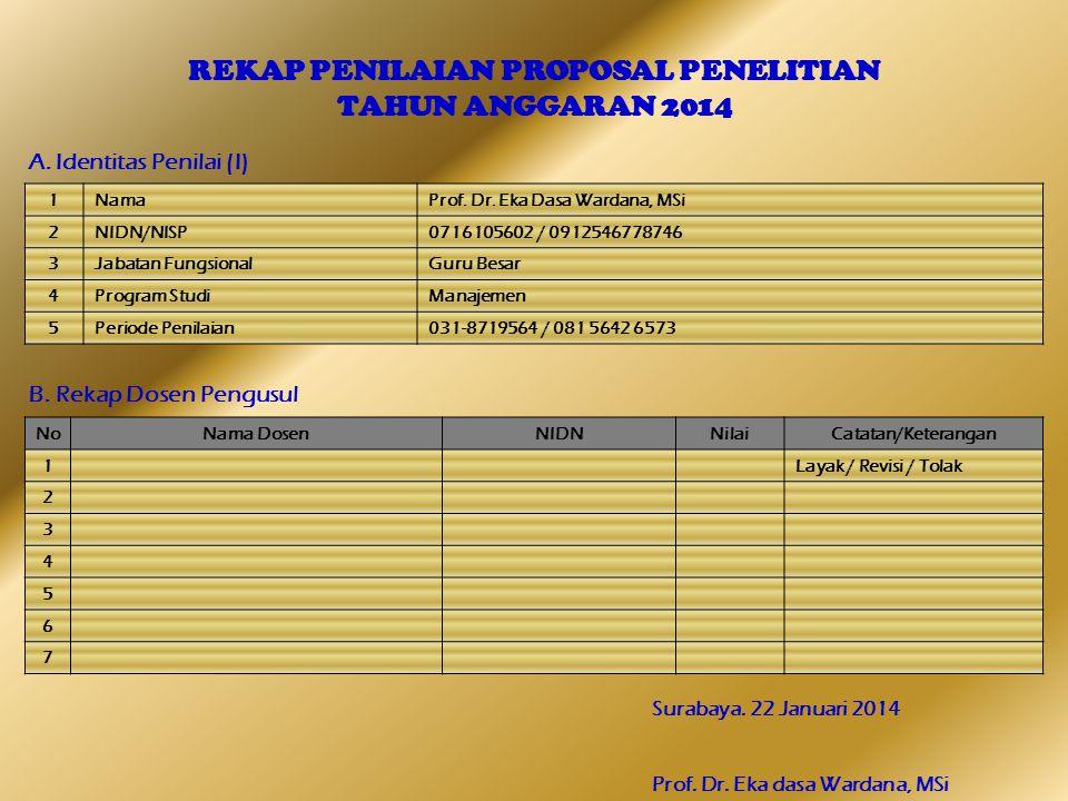 REKAP PENILAIAN PROPOSAL PENELITIAN TAHUN ANGGARAN 2014 A. Identitas Penilai (I) B. Rekap Dosen Pengusul Surabaya. 22 Januari 2014 Prof. Dr. Eka dasa